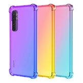 Bakeey Degrade Renk ile Dört Köşe Hava Yastığı Darbeye Dayanıklı Saydam Soft TPU Koruyucu Kılıf için Xiaomi Mi Not 10 Lite Orijinal değil