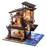 T-Yu Dollhouse DIY Valencia Coastal Villa Doll House Miniature Furniture Kit Coleção Presente