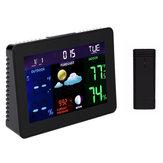 TS-70 LCD رقمي محطة الطقس المهنية الأسود ميزان الحرارة اللاسلكية إنذار ساعةحائط مع 1 الارسال