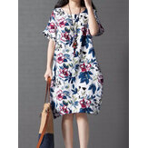 Vintage Women Loose Printing Short Sleeve Dress