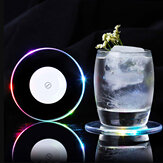 LED Light Color Change Drink Cup Holder Mat Club Party Pad Barware Sticker Decor