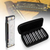 NAOMI 7PCS Blues Harmonica 10 otvorů C Key Blues Band Harmonica Set s pouzdrem