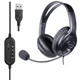 JAZZA U10 USB Wired Control PU Leather Headset Online Course Online Meeting Headphone with Noise Cancelling Mic for Computer PC