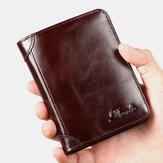 Erkekler Hakiki Deri Retro Bifold Kalın RFID Anti-hırsızlık Kart Sahibinin Para Purse Para Klip Sığır Derisi Cüzdan