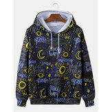 Mens Graffiti Print Long Sleeve Drawstring Hoodies With Pocket