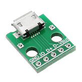 5 stuks micro USB Dip Female Socket B Type microfoon 5P Patch Om Dip 2.54mm Pin Met Soldeeradapter Board