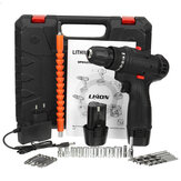 12V LED Cordless Electric Impact Hammer Drill Rechargeable Screwdriver W/ 2pcs Battery