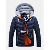 Chaqueta de costura con capucha gruesa de invierno para hombre Abrigo de bolsillos con cremallera cálido informal acolchado de moda