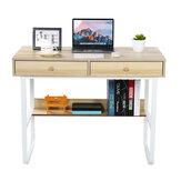 Computadora de escritorio Escritorio PC Mesa para computadora portátil Mesa de escritura de estudio Estación de trabajo simple con 2 cajones Estante de almacenamiento para el dormitorio de la oficina en casa