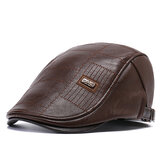 Collrown Men PU Leather Jednokolorowy Casual Retro Visor Sun Hat Forward Hat Beret Hat