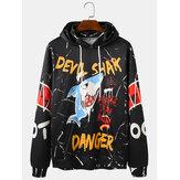 Heren Graffiti Letter Shark Print Casual hoodies met trekkoord en kangoeroezak
