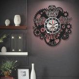 Ugle Vinyl Optag Wall Clock Gear Cogs Night Owl Steampunk LED Vægur Home Decor Cogwheels Animal Wall Modern