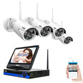 Hiseeu 10 inch Display 4pcs 1080P Wireless CCTV IP Camera System 8CH NVR WiFi Video Surveillance Home Security System Kit
