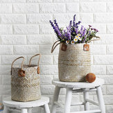 Straw Woven Flower Pot Portable Plant Storage Baskets Flower Vase Handmade Hanging Basket Home Decor