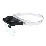 Lunettes de loupe à bandeau LED Interchangeables 5 lentilles remplaçables 1.0X / 1.5X / 2.0X / 2.5X / 3.5X Loupe dentaire pour phares