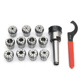 11pcs 1/8-3/4 Inch Collets Set With MT2 Shank Chuck And Spanner For Milling Machine