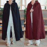 Vintage z kapturem płaszcz luźne długie peleryny cosplay kostium