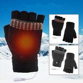 USB 5V Electric Heating Gloves Hand Warmers Winter Warm Mittens Hand Laptop Half Fingerless Heating Gloves