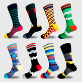 Heren nieuwigheid Geometic pattern Cotton Middle Tube Socks