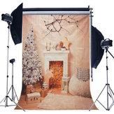 5x7フィートクリスマス暖炉クリスマスツリー支店ウッドブランケット写真バックスタジオスタジオプロップ背景