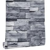 Papel de parede Tijolos Ardósia Papel de parede texturizado com efeito 3D em tons de tijolo cinza 45cmx6m