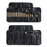 24 Pcs Makeup Brush Set Cosmetics Makeup Brush Kit With Leather Case Foundation Eyeliner Blending Concealer Mascara Eyeshadow Face Powder