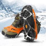 AUTO 12 dentes Ice Grip Corrente de Soldagem de Aço Inoxidável Grampos Grampos de Gelo Cobertura de Sapato Antiderrapante para Campismo Escalada Esqui na Neve