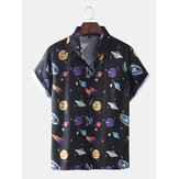 Mens Star Ruimteschip Cartoon Printing Ademende Casual Shirts met korte mouwen
