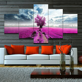 5Pcs Canvas Print Paintings Purple Lavender Flower Wall Decorative Printing Art Pictures Frameless Wall Hanging Decorations for Home Office