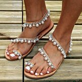 Large Size Pearls Slip On Casual Flat Sandals