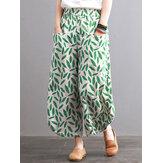 Femmes Vintage Leaves Print Pockets Pantalon taille élastique