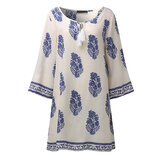 Mulheres Retro 3/4 Sleeve V-Neck Lace Up Printed Boho Mini Dresses