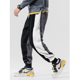 Mens Patchwork Corduroy Side Stripes Drawstring Mid Waist Jogger Pants