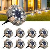 Ηλιακά φώτα 8 πακέτων Ηλιακά φώτα ΓΛΥΜΗ 8 LED Ηλιακά φώτα εξωτερικού χώρου Αναβαθμισμένοι κήποι Αδιάβροχα Φωτεινά φώτα στο έδαφος για Pathway Walkw