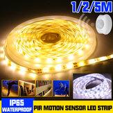 1M 2M 5M Su Geçirmez LED Şerit Işık 2835 SMD PIR Hareket Sensör Dim Dolap Lamba Dolap Dolabı DC12V için