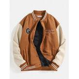 Heren Letter Graphics Drop Shoulder Patchwork Baseball Collar Jacket