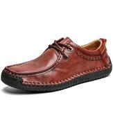 Uomo casual in pelle di vacchetta cuciture a mano antiscivolo Soft suola scarpe business casual