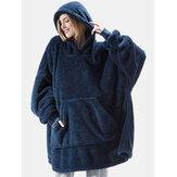 Women Oversized Thicken Warm Solid Color Blanket Hoodie Plush Sleepwear Robe With Pocket