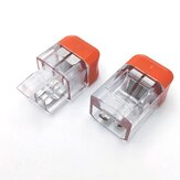 LT-22 2 Pin Transparent Quick Wire Connector Universal Compact Electrical Push-in Butt Conductor Terminal Block