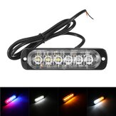 12V-24V 6LED Super Bright Strobe Emergency Warning Lights Police Flashing Light Bar