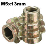5Pcs M5x13mm Hex Drive Screw In Threaded Insert For Wood Type E