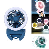Handheld Phone Clip LED Fan Mini Folding 180° Rotation 2 Modes Fill Light 3 Speed Wind Fan Make-up Outdoors Camping Travel