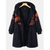 Patchwork Imprimé Floral Ethnique Manches Longues Vintage À Capuche Plus Taille Manteaux Pour Femmes