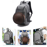 Waterproof Canvas Laptop Backpack School Bag With USB Charging Port/Basketball Net