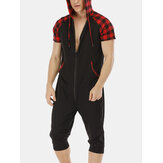 Mens Casual Cotton Hooded Plaid Style Short Sleeve Jumpsuit
