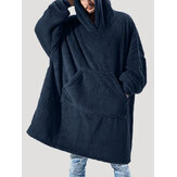 Franela para hombre Thicken Oversized Kangaroo Pocket Blanket Hoodies Warm Homewear