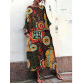 Women Retro Crew Neck Loose Baggy Floral Maxi Dress