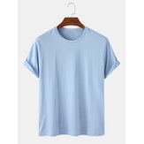 Mens 100% Cotton Solid Color Breathable Round Neck Casual Short Sleeve T-Shirts