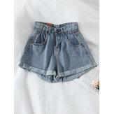 Pantaloncini di jeans a gamba larga tascabili da donna casual