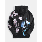 Mens Flroal Crane Back Pattern Letter Print Black Chinese Style Hoodies With Pocket